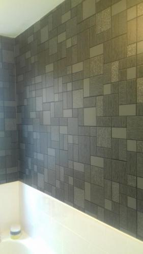 Bathroom wallpaper install